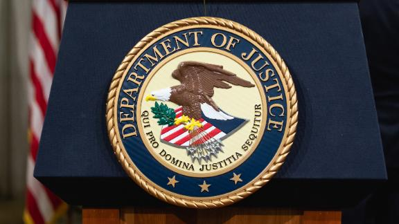 The Department of Justice seal, in Washington, D.C. onThursday, April 12, 2018.