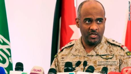 Ahmed Asiri informs journalists about the Saudi strike led coalition against Houthi rebels in Yemen during a press conference in Riyadh, Saudi Arabia, Saturday, April 18, 2015.
