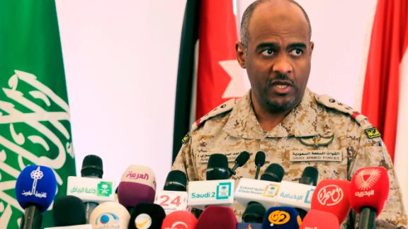 Ahmed Asiri briefs journalists on the Saudi-led coalition's strikes on Houthi rebels in Yemen, during a press conference, in Riyadh, Saudi Arabia, Saturday, April 18, 2015.
