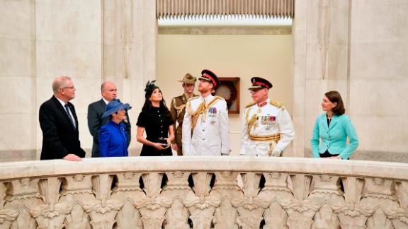 Harry and Meghan view the Hall of Memory on Saturday, October 20, at the official opening of ANZAC Memorial in Sydney.
