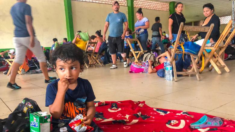Migrants gather at a shelter in Ciudad Hidalgo, Mexico.