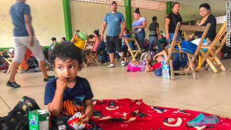 Migrants gathered on a shelter in Ciudad Hidalgo, Mexico.