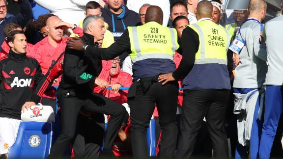 In October, stewards at Stamford Bridge had to hold back Mourinho after he was incensed by a member of the home team