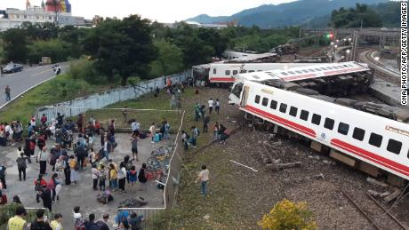 The derailed train in Yilan County, Taiwan, on Sunday.