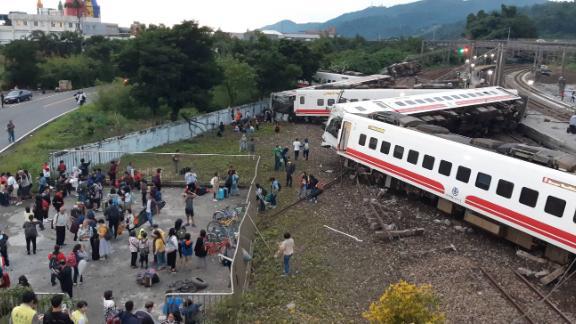The derailed train in Yilan County, Taiwan, on Sunday.