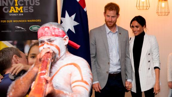 Britain's Prince Harry and Meghan, the Duchess of Sussex, attend a lunchtime reception hosted by Prime Minister Scott Morrison in Sydney, Australia, on Sunday.