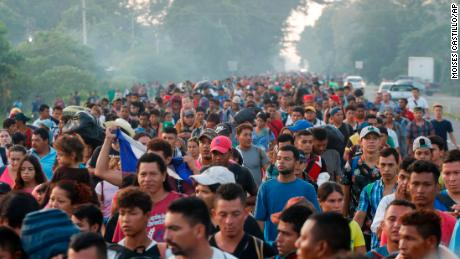 Migrant caravan resumes march north from Mexico-Guatemala border north of Mexico-Guatemala border