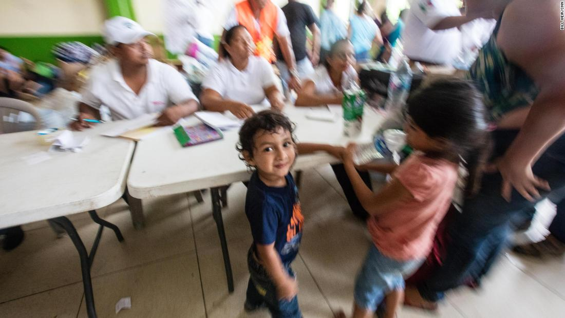 Carlitos, 3, in the safety of a shelter on the Mexican side of the border.