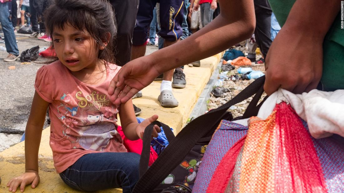 Five-year-old Candy became separated from her mother in the chaos when tear gas was fired on the bridge.