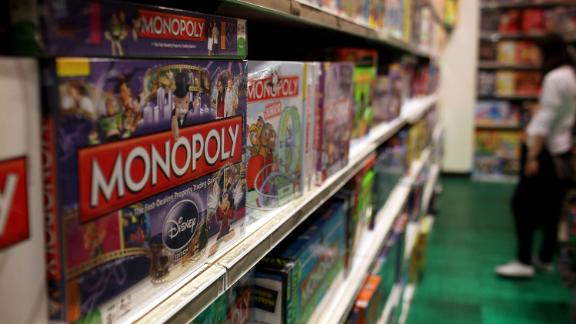 NEW YORK, NY - APRIL 14:  The iconic board game Monopoly by toymaker Hasbro is displayed at a toy store on April 14, 2011 in New York City. As demand for board games and puzzles continues to weaken Hasbro's first-quarter profit plunged almost 71 percent.  (Photo by Spencer Platt/Getty Images)