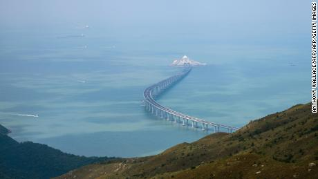 In this photo taken on October 7, 2018, a section of the Hong Kong-Zhuhai-Macau Bridge (HKZMB) is seen from Lantau island in Hong Kong.
