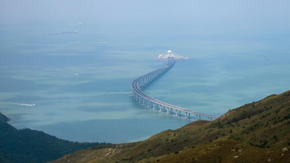 In this photo taken on October 7, 2018, a section of the Hong Kong-Zhuhai-Macau Bridge (HKZMB) is seen from Lantau island in Hong Kong.