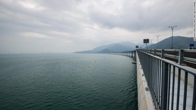A general view shows the Hong Kong side of the Hong Kong-Zhuhai-Macau Bridge (HKZM) on October 19, 2018, five days ahead of its opening ceremony.
