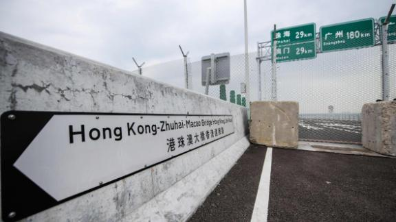 A general view shows a barrier on the Hong Kong side of the Hong Kong-Zhuhai-Macau Bridge (HKZM) on October 19, 2018, five days ahead of its opening ceremony.