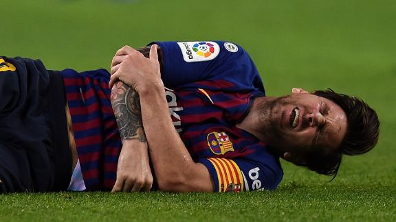 Lionel Messi landed heavily on his right arm after colliding with an opponent.