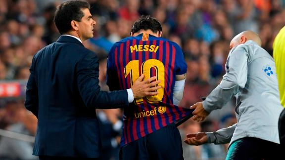 The Barcelona star was forced off the pitch and the club later confirmed a right arm fracture.