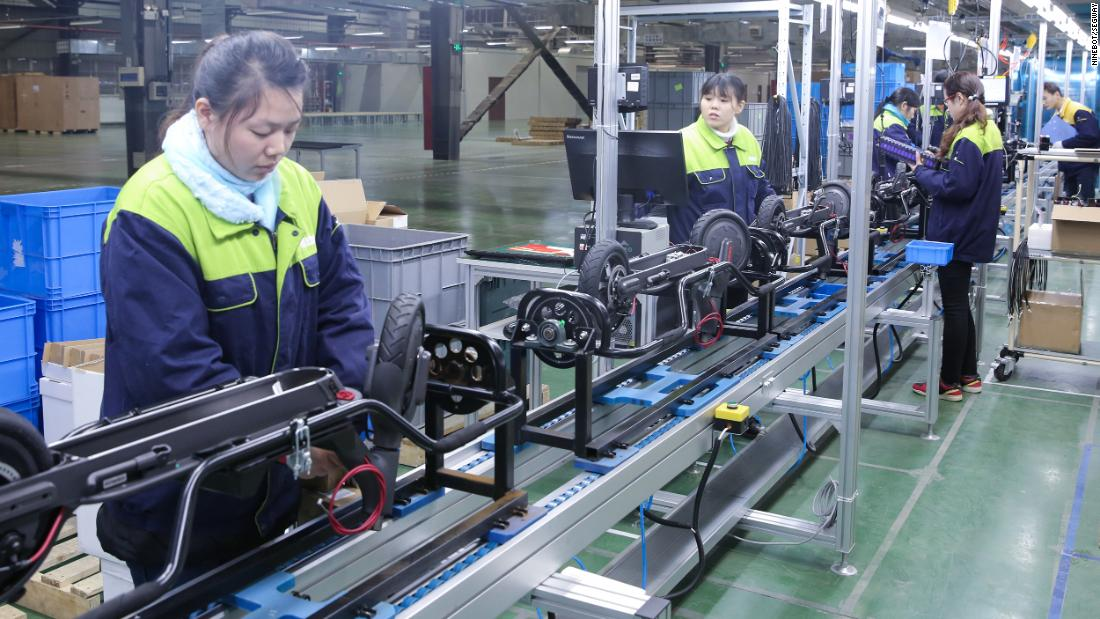 Scooters are built at Ninebot's factory in China.