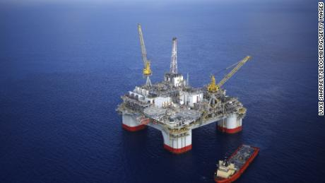 A Deepwater oil platform is shown in the Gulf of Mexico off the Louisiana coast.