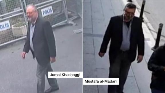 Surveillance footage shows Jamal Khashoggi (left) as he enters the Saudi consulate. A senior Turkish official told CNN the man on the right, Mustafa Al-Madani, dressed up in Khashoggi