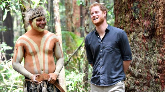 Harry talks with a member of the Butchulla people, who are the traditional owners of Fraser Island, at Pile Valley on Fraser Island, Australia, on Monday, October 22.
