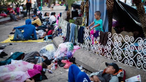 Migrants from Central America rest where they can in Tapachula, Mexico.