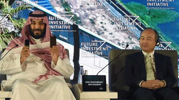 Bin Salman and SoftBank CEO Masayoshi Son at the Future Investment Initiative conference in 2017.