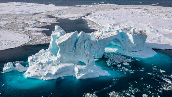 Aerial view taken off James Ross Island in the Weddell Sea, in the Antarctic (see GPS).