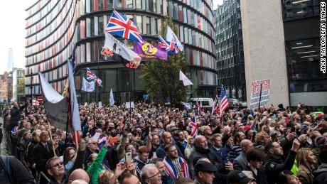 Supporters of far-right figurehead Tommy Robinson outside the Old Bailey on October 23.