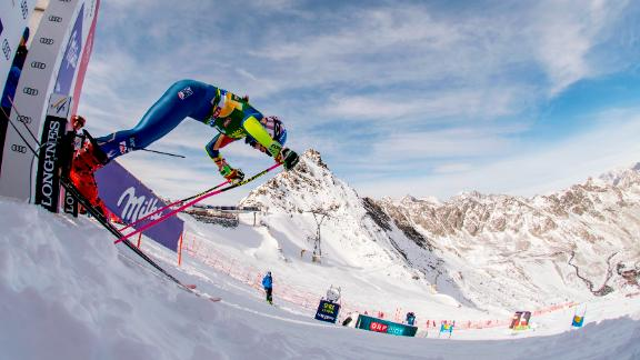 US star Mikaela Shiffrin pushes out of the starting gate at Soelden in 2017.