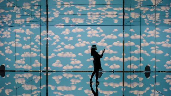 """Milan, Italy: This striking image is taken at the """"Inside Magritte"""" multimedia path at the Fabbrica del Vapore (Steam Factory), an arts center in this northern Italian city."""