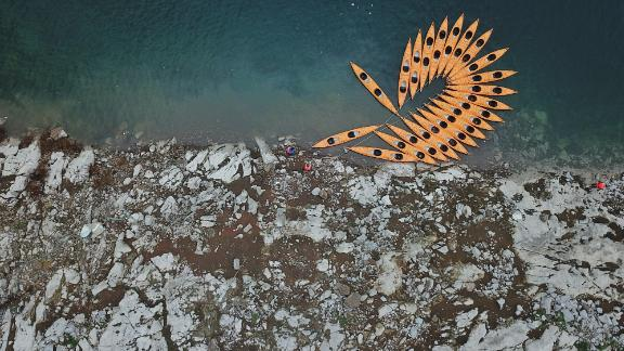 Weng'an, China: This aerial shot depicts kayaks moored on the Jiangjie River in Weng'an County, which is in southwest China's Guizhou Province.