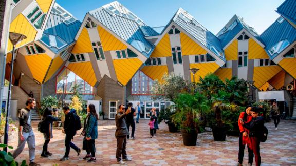 Rotterdam, the Netherlands: This is the Cube House in Rotterdam -- 38 cube-shaped pile dwellings and 13 business cubes. The Cube House was designed by architect Piet Blom.
