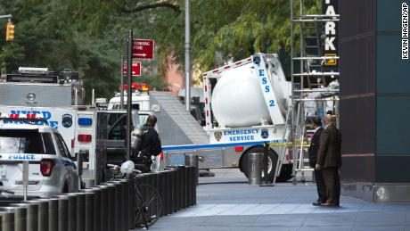 Cops used a large white ball to move an apparent bomb from CNN's office building in New York