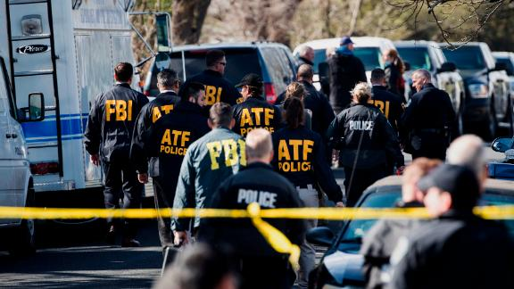 Authorities work on the scene of an explosion in Austin, Texas in March.