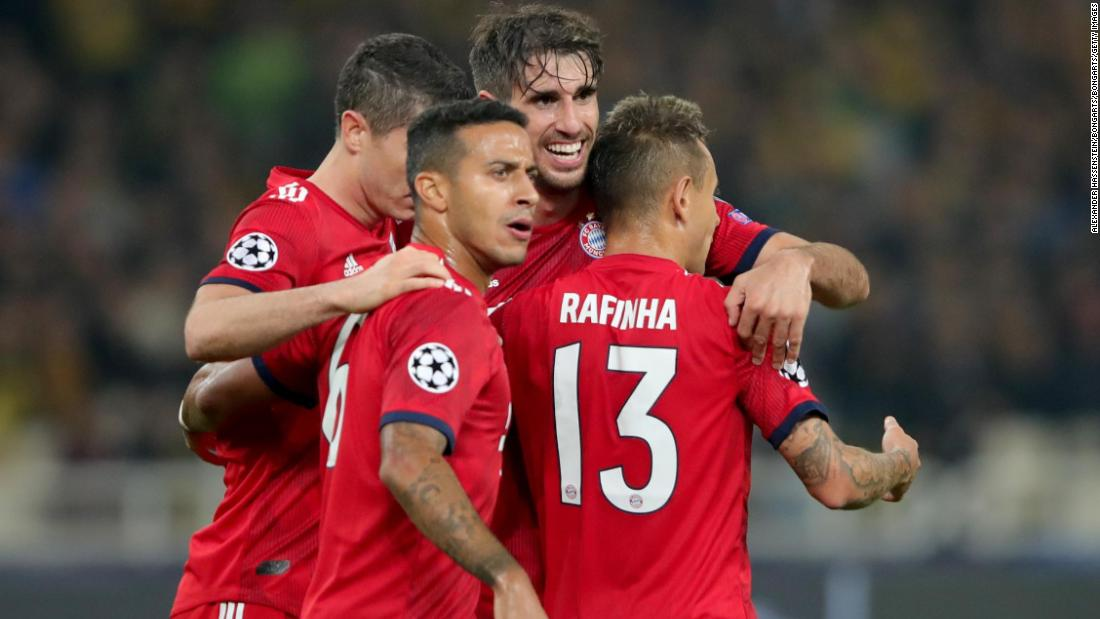 Bayern Munich labored to a 2-0 win against AEK Athens. Javier Martinez broke the deadlock after an unconvincing first-half display from the German champions before Robert Lewandowski added a second.