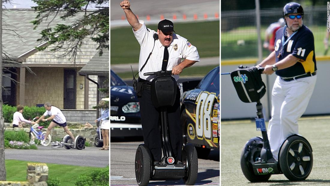 "Former president George W. Bush falls off a Segway; Actor Kevin James races NASCAR stock cars on a Segway to promote his 2009 movie, ""Paul Blart: Mall Cop;"" Apple co-founder Steve Wozniak plays Segway polo."