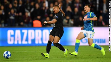 Kylian Mbappe cut a frustrated figure for much of the match and failed to make an impact.