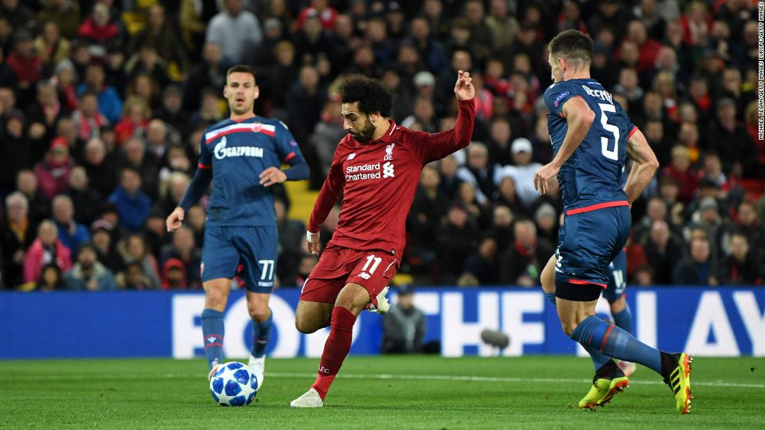 Mohamed Salah scores his first and Liverpool's second in a comfortable 4-0 victory over Red Star Belgrade.