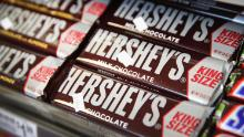 Hershey's chocolate bars are offered for sale on July 16, 2014 in Chicago, Illinois.