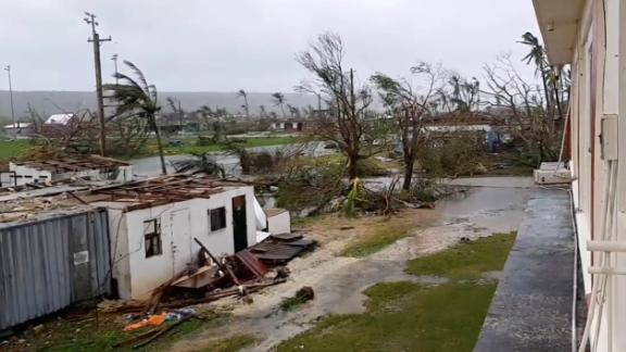 A view shows damages caused by Super Typhoon Yutu in Tinian, Northern Mariana Islands, October 25, 2018, in this still image taken from a video obtained from social media.