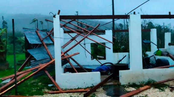 In this photo provided by Glen Hunter, damage from Super Typhoon Yutu is shown outside Hunter's home in Saipan, Commonwealth of the Northern Mariana Islands, Octover 25, 2018.