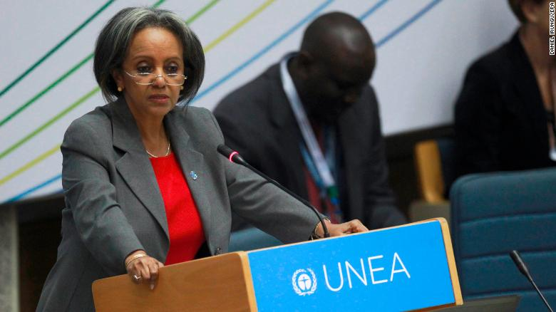 Sahle-Work Zewde speaks at a United Nations meeting in 2014 in Kenya.