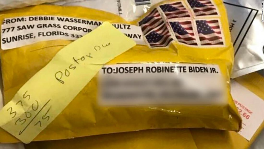 image of 2nd suspicious package addressed to Biden