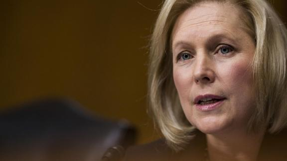 """Senator Kirsten Gillibrand, a Democrat from New York, speaks during a Senate Committee on Environment and Public Works Subcommittee on Transportation and Infrastructure hearing on Capitol Hill in Washington, D.C., U.S., on Wednesday, Dec. 20, 2017. The hearing was titled """"Freight Movement: Assessing Where We Are Now And Where We Need To Go""""."""