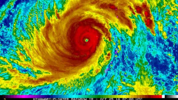 Satellite image provided by the National Oceanic and Atmospheric Administration shows Super Typhoon Yutu after it passed over the Northern Mariana Islands on October 25, 2018.