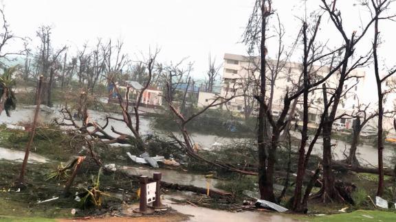 Destruction on Saipan Island after Super Typhoon Yutu slammed into the Northern Mariana Islands on October 25, 2018.