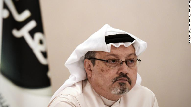 Jamal Khashoggi, looks on during a press conference in the Bahraini capital Manama, on December 15, 2014.