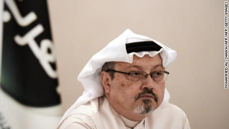 "A general manager of Alarab TV, Jamal Khashoggi, looks on during a press conference in the Bahraini capital Manama, on December 15, 2014. The  pan-Arab satellite news broadcaster owned by billionaire Saudi businessman Alwaleed bin Talal will go on air February 1, promising to ""break the mould"" in a crowded field.AFP PHOTO/ MOHAMMED AL-SHAIKH (Photo by MOHAMMED AL-SHAIKH / AFP)        (Photo credit should read MOHAMMED AL-SHAIKH/AFP/Getty Images)"