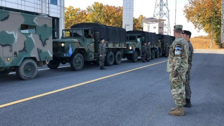 Trucks from the UN Command are seen inside the JSA.