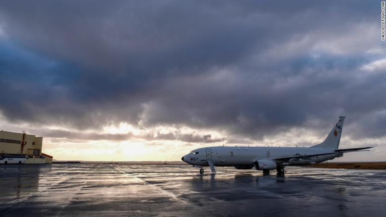 A US Navy P-8 Poseidon surveillance and submarine aircraft sits at Keflavik International Airport ahead of NATO exercises.